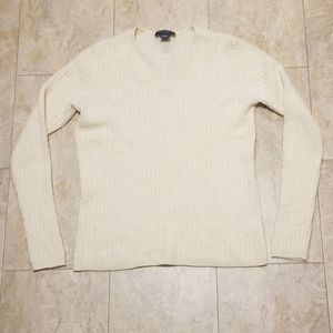 Ann Taylor Cashmere Cable Knit V Neck Sweater